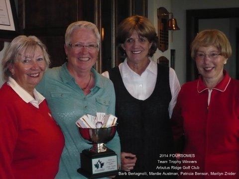 2014 Team Trophy Winners Barb Bertagnolli, Mardie Austman, Patricia Benson, Marilyn Znider